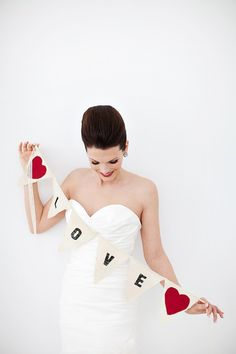 Love banner with lace strings as seen in Style by victorianstation, $34.00
