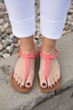 The Kylie Sandals Coral - The Pink Lily