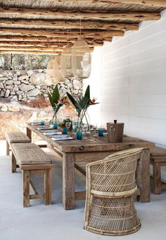 what a gorgeous display of natural finishes in the outdoor dining area, home of , Caroline Legrand, in Ibiza. Outdoor Tables, Outdoor Areas, Outdoor Rooms, Outdoor Furniture Sets, Outdoor Decor, Outdoor Lighting, Rustic Table, Wooden Tables, Scandi Living