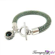 Bransoletka szydełkowo koralikowa Seed Beads - Emerald | Tarragon Art - stylowa biżuteria artystyczna