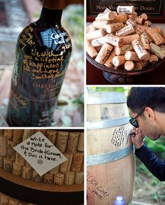 cool guest book!     http://www.jetfeteblog.com/wp-content/uploads/2011/11/wine-themed-guest-book.jpg