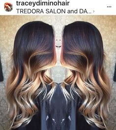 Beautiful painted hair, balayage, ombre, stretched root, blonde #balayageombre long hair, dark hair ideas, highlights on dark hair