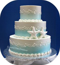 Beach Themed Wedding Cake by Graceful Cake Creations, via Flickr