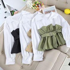 Blouses For Women, Pants For Women, Sweaters For Women, Blouse Kimono, Shirt Print Design, Korean Fashion, Long Sleeve Tops, Shirts, Swag Girls