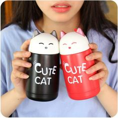 320ml Cute Cat Stainless Steel Water bottle Cartoon Thermos Cup Drinkware Fashion Sports Vacuum Flask Mug garrafa de agua