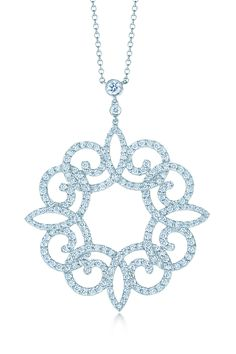 Tiffany Enchant™ scroll pendant in platinum with diamonds. #TiffanyPinterest