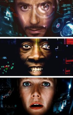 "Team Iron Man (""Iron Man 3"" - Tony, Rhodey and Pepper). Is it just me, or does Tony's HUD show a lot more information than theirs? Maybe he can just keep up with that many info feeds (being a genius and all)."