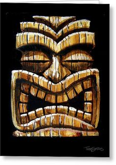 Tiki Head Greeting Card for Sale by Trey Surtees Tiki Man, Tiki Tiki, Tiki Pole, Tiki Faces, Tiki Statues, Tiki Bar Decor, Hawaiian Tiki, Cartoon Painting, Hawaiian Tattoo