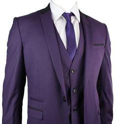 Mens Slim Fit Purple 3 Piece Suit
