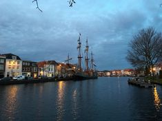 Nice view at the 'Soeverein' moored in the river 't Spaarne.