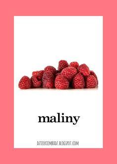 Dzieckiem bądź: Owoce i warzywa - plansze do pobrania Raspberry, Strawberry, Polish Language, Origami, Fruit, Montessori, Pools, Kids, Anna