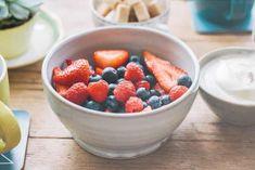 bowl of red and blueberries and yoghurt at Treen House, west Cornwall Scotch Pancakes, Organic Yogurt, South West Coast Path, West Cornwall, Poached Pears, Tofu Scramble, Mini Fridge, Something Sweet, Blueberries