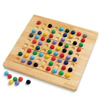 """Start with clues from one of the 104 puzzle cards, and then try to place a single ball of each color in every row, in every column, and in every 3 x 3 box. The ColorKu Game board and colored balls are made from high-quality solid wood; 13.5"""" square."""