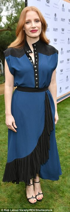 Standing out: Chastain and Patty Jenkins dazzled in their fashion forward looks...