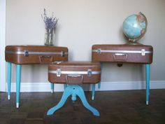 Recycle old suitcase, make them end tables or coffee tables