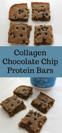 These high protein, low calorie collagen chocolate chip bars taste decadently sweet and have a great texture but pack extra health benefits. High Protein Bars, Low Carb Protein Bars, Protein Bar Recipes, Protein Snacks, Chocolate Chip Bars, Dark Chocolate Chips, Healthy Vegan Snacks, Healthy Baking, Healthy Eats