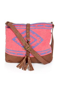 Billabong Hola Jaupa Bag - Canvas Tote - Southwest Print Purse on one side Black and White Stripes on the other.