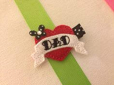 Embroidered Felt Valentine Dad Heart Tattoo Clippie Bow