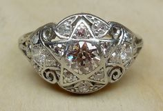 Vintage Antique 1.00ct Old European Cut Diamonds Platinum 14k White Gold Engagement Ring Art Deco 1920 Star Ring