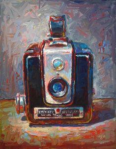 """Brownie Hawkeye Camera"" - Original Fine Art for Sale - © Raymond Logan"