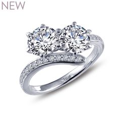 Better TWOgether. Two Stone Ring by LAFONN in Platinum-Bonded Sterling Silver with Simulated Diamonds, $150 MSRP. 1.96cts.