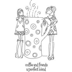 New Stamping Bella Cling Rubber Stamp Uptown Girl Clarissa Camille Coffee Vintage Embroidery, Embroidery Patterns, Coloring Book Pages, Copics, Digital Stamps, Doodle Art, Paper Dolls, Illustration, Drawings