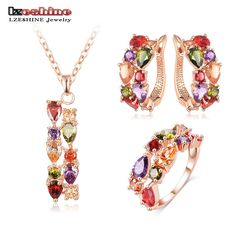 LZESHINE New Top Rose Gold Color Flower Jewelry Set Multicolor Cubic Zircon  Pendant Earrings Ring Women Wedding Jewelry Sets e9343592e160