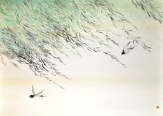 """Mostra personale """"Essenza della Natura"""" Pittura giapponese di Shoko Okumura , Frulli di rondini, brevi soste di passeri tra le foglie degli alberi, rami mossi da leggere carezze di vento,alture e specchi d'acqua lontani, lo st..."""