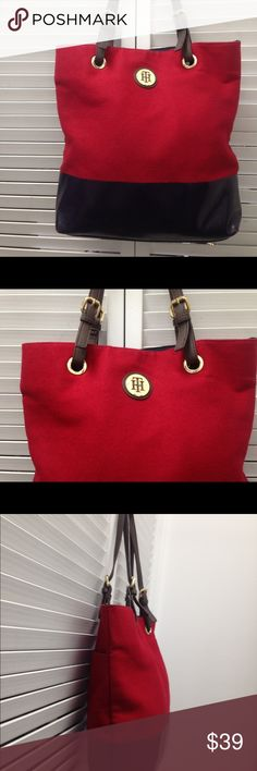 TOMMY HILFIGER Leather Flannel  Red Tote TOMMY HILFIGER Leather Flannel  Red Tote Tommy Hilfiger Bags Totes