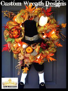 Thanksgiving Wreath, Turkey Wreath, Thanksgiving Decor, Thanksgiving Decorations, Door Decor, Pilgrim Decoration, Pilgrim Decor