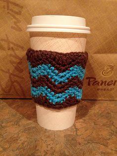 Crochet Chevron Cozies : Coffee Mug, Coffee Sleeve & Water Bottle pattern