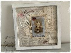 Love this look - a doily, script and book paper background, old photo and ephemera in a frame