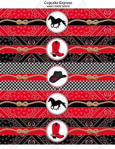 INSTANT DOWNLOAD diy Cowboy Birthday Party PRINTABLE Water Bottle Labels red black horse boots