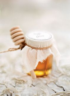 Brides: Jar of Honey Wedding Favor. Guests were given jars of honey assembled by the bride and groom as favors.