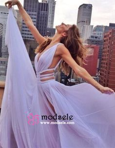 Modsele Sexy V-neck Side Slit Long Lavender Chiffon Prom Dress/Evening Dress PD-7722 [HD7722] - $138.99 : Modsele.com