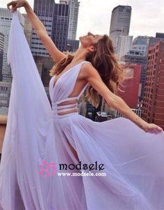 Modsele Sexy V-neck Side Slit Long Lavender Chiffon Prom Dress/Evening Dress PD-7722 [HD7722] - $138.99 : Modsele.com