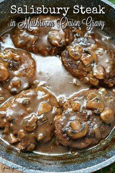 Salisbury Steak in Mushroom Onion Gravy - Pan seared ground beef patties cooked in a mushroom gravy. Comfort food at it's best. Salisbury Steak in Mushroom Onion Gravy - Pan seared ground beef patties cooked in a mushroom gravy. Comfort food at it's best. Easy Steak Recipes, Grilled Steak Recipes, Cooking Recipes, Hamburger Steak Recipes, Chopped Steak Recipes, Steak Meals, Minute Steak Recipes, Cooking Tips, Hamburger Steak And Gravy