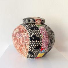 Janet DeBoos, Covered Jar  2013, Thrown porcellaneous stoneware, black underglaze stain, terra sigillata, sgraffito, stock overglaz...