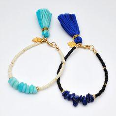 Pastel color 100silk tassel braceletlucky by MarieAmulet on Etsy