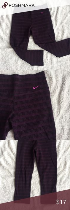 Deep Purple Nike Dri-Fit Workout Pants Calf length deep purple Nike Dri-Fit workout pants with a fun design! Only worn a handful of times, great condition! 💜   15% off with bundle purchase! Nike Pants Leggings