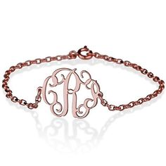 Rose Gold Sideways Monogram Bracelet