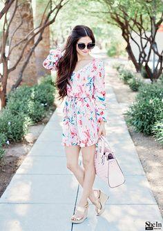 Multicolour Long Sleeve Floral Print Dress -SheIn(Sheinside)