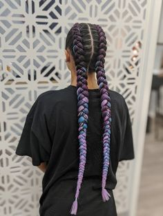 Dutch braids with purple and blue extensions, music festival hair ideas and braiding Purple Hair Extensions, Hair Extensions Tutorial, Braid In Hair Extensions, French Braids With Extensions, Two Braid Hairstyles, Sporty Hairstyles, Pretty Hairstyles, Colored Braids, Purple Braids