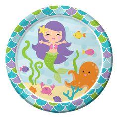 Pappteller Meerjungfrau. Partyteller für einen Meerjungfrauen  Kindergeburtstag. Durchmesser ca. 22 cm.