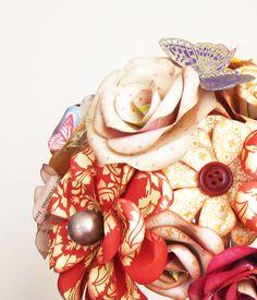 Elegant Autumn Wedding - BOOK ROSES - Paper Flowers Bouquet. $160.00, via Etsy.