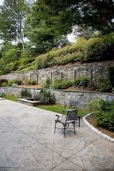 retaining wall with water feature