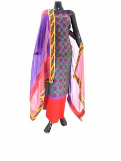 Phulkari Salwar Suit with Champa Jaal- Purple&Red:GiftPiper.com.This absolutely stunning phulkari suit piece has a cotton kurta which is hand embr