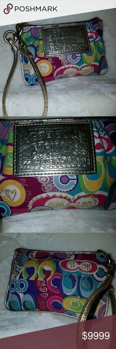 Coach🌺Poppy🌺 Wristlet Coach 🌺Poppy🌺 Graffiti Wristlet in the most sought-after colors!   This matches MANY Poppy items here in my PM closet!   Vibrant print with 💜Purple, 💚Green, 💛Yellow, 💙Blue, 💦Turquoise, 💗Light & the 💕Fuschia Pink, with the Poppy branding in 🏆Gold letters.🏆Gold leather trim, (very minor rub off) and.  🏆Gold hardware. Zip works perfectly. 🚫NO stains inside or outside! 👉EUC👈  Check out ALL the Coach &🌺Poppy in my closet! 😊Bundle & SAVE! Coach Bags…