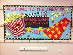 THEATRE: Bulletin board idea for theatre introduction Back To School Bulletin Boards, Classroom Bulletin Boards, Classroom Themes, Classroom Organization, Popcorn Bulletin Boards, Stars Classroom, Future Classroom, School Classroom, Movie Classroom