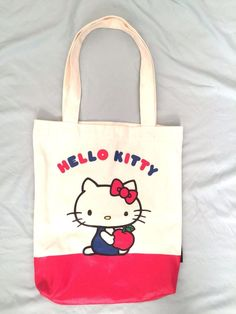 Hello Kitty Tote Bag Off White Canvas Red Vinyl Bottom Logo Both Sides  Pocket 3bfb7c1656